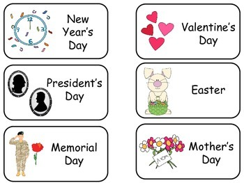 Different Holidays Picture Word Flash Cards. Preschool fla
