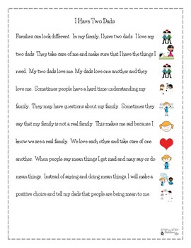 Different Kinds Of Families:  Social Stories For Students With Autism