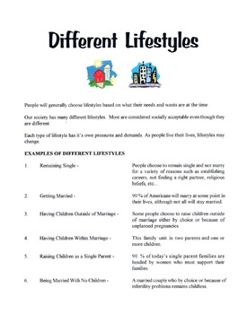 Different Lifestyles Lesson