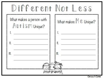 Different Not Less - An Autism Awareness Activity Set