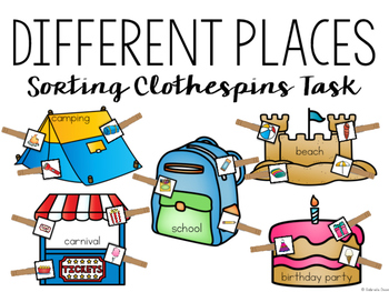 Different Places Sorting Clothespin Tasks