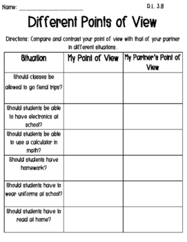 Different Points of View Worksheet
