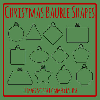 Different Shape Christmas Baubles Blank Templates Clip Art Set Commercial Use