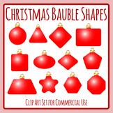 Different Shape Christmas Baubles Clip Art Set Commercial Use