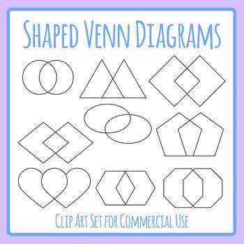 Different Shape Venn Diagrams / Graphic Organizers Clip Art Set Commercial Use