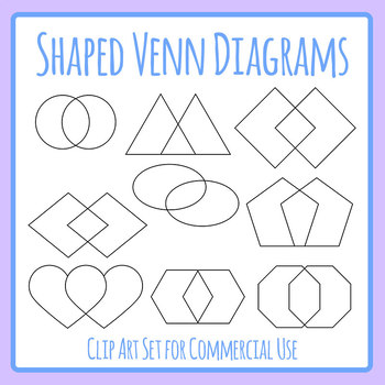 Different Shape Venn Diagrams Graphic Organizers Clip Art Set