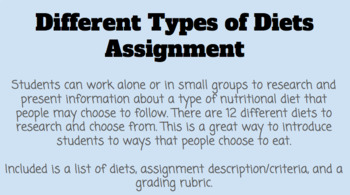 Different Types of Diets Assignment