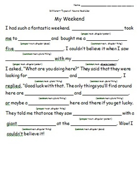 Different Types of Nouns: Mad Libs
