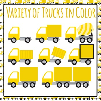 Different Types of Trucks (Yellow) Commercial Use Clip Art Set