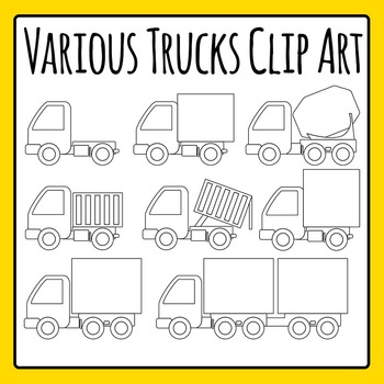 Different Types of Trucks Commercial Use Clip Art Set