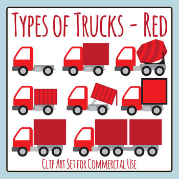 Different Types of Trucks (Red) Commercial Use Clip Art Set