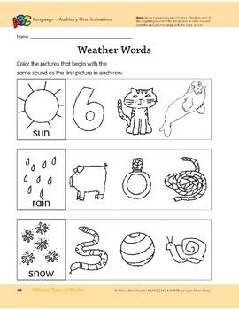 Different Types of Weather: Language and Math Activities