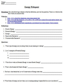 Different forms of Energy Webquest