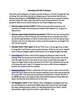 Different self-edit techniques handout