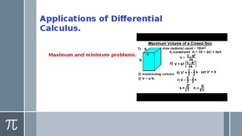 Differential Calculus Maximum Minimum Problems