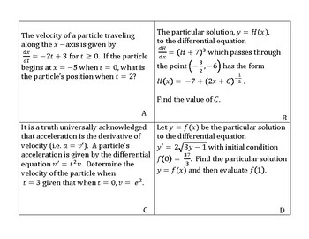 Differential Equations Card Sort and Solve (calculus)
