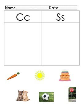 Differentiate Letter Sounds /c/ vs. /s/
