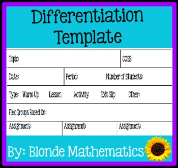 Differentiate Math Template