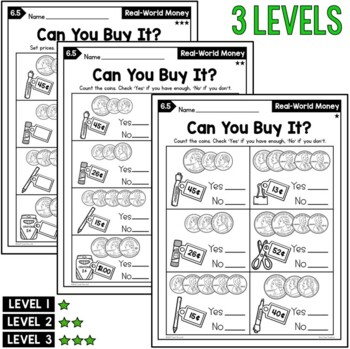 Differentiated 1st Grade Money Worksheets