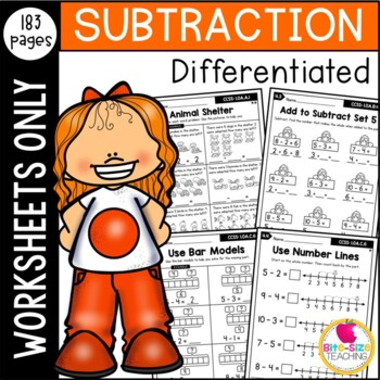 Differentiated First Grade Subtraction to 10 Worksheets