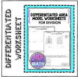 Differentiated 2-Digit Division with Area Model Worksheet