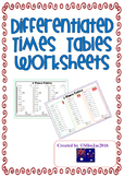 Times Tables Worksheets- Differentiated levels- Multiplica