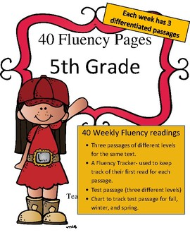 Differentiated 5th Grade Fluency Passages (40 weeks: 3 levels per passage)