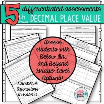 5th grade decimals place value concepts differentiated worksheets tests. Black Bedroom Furniture Sets. Home Design Ideas
