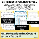 Differentiated Activities: Adding & Subtracting Fractions (Like Denominators)