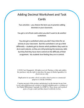 Differentiated Add Decimal Worksheet/Task Cards