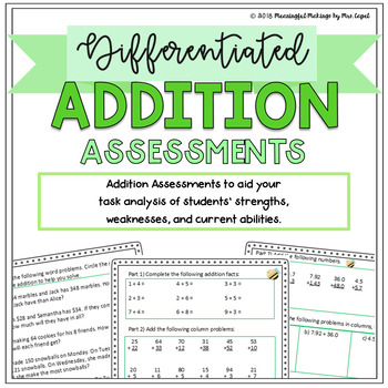 Differentiated Addition Assessments: Pre/Post Tests & Grouping Guides!