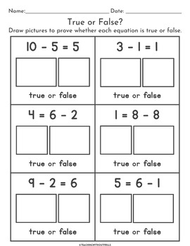 True or False Equations | Differentiated Worksheets | Meaning of the Equal Sign