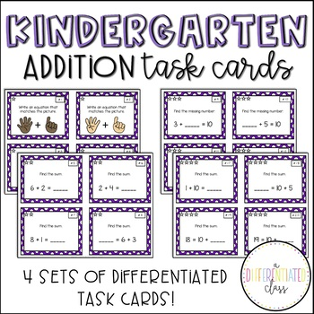 Differentiated Addition Task Cards {Sums to 20}