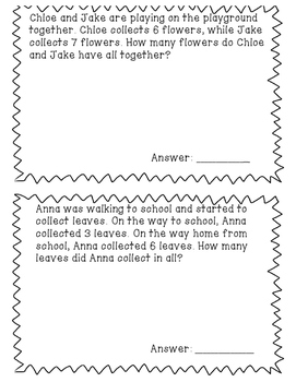 Differentiated Addition Word Problems Up to 25