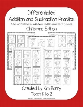 Differentiated Addition and Subtraction Practice- Christmas Bears