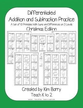 Differentiated Addition and Subtraction Practice- Christmas Penguin