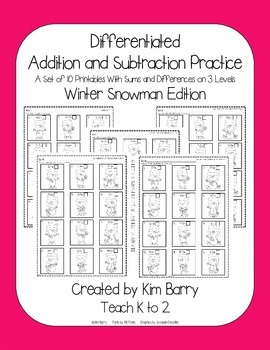 Differentiated Addition and Subtraction Practice- Snowman