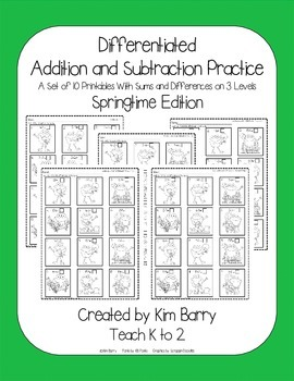 Differentiated Addition and Subtraction Practice- Springtime Frogs