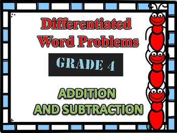 Differentiated Addition and Subtraction Word Problem Task Cards for 4th Grade