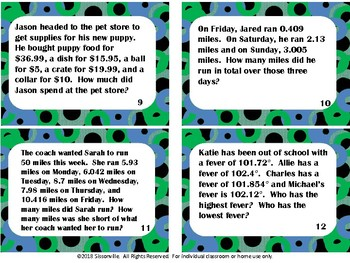 Differentiated Addition and Subtraction of Decimals Word Problems for 5th