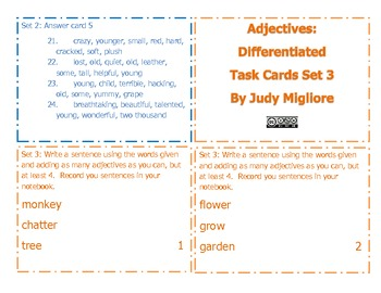 Differentiated Adjective Task Cards