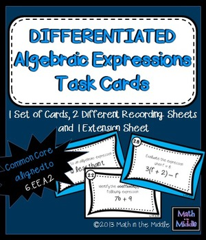 Differentiated Algebraic Expressions Task Cards