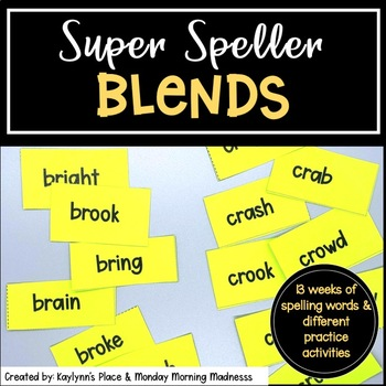 Differentiated BLENDS Phonics Based Spelling Word Lists for grades 3, 4 and 5