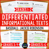 Differentiated Baseball Reading Passages: Jackie Robinson (Grades 1-6)