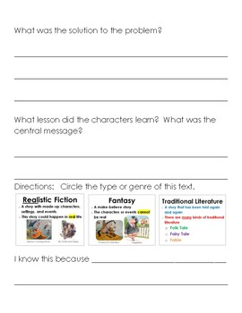 Differentiated Beg. Middle End (Story Elements) Response to Reading RL 1.3