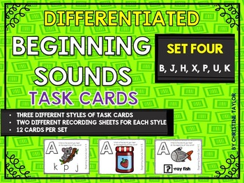 Differentiated Beginning Sounds Roam the Room Task Cards Set Four