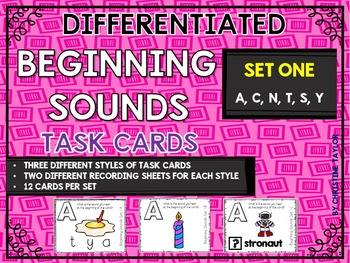 Differentiated Beginning Sounds Roam the Room Task Cards Set One