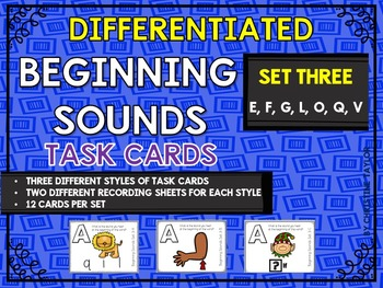Differentiated Beginning Sounds Roam the Room Task Cards S