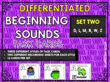 Differentiated Beginning Sounds Roam the Room Task Cards Set Two