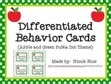 Differentiated Behavior Cards- Apples and Green Polka Dots Theme
